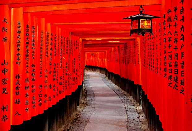 tunnel of red leading to the crest of Mount Inari