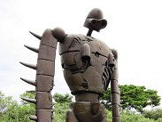 Life size Robot Soldier from Castle in the sky is standing inside of the Ghibli Museum