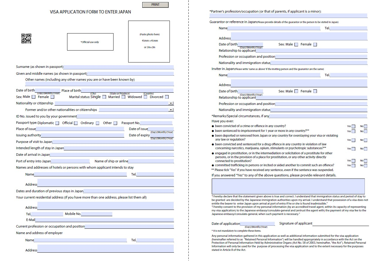 visa application form download