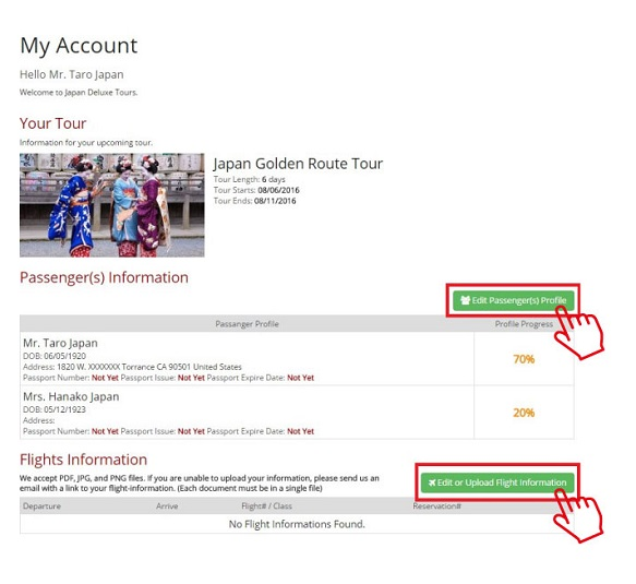 Step 9. Upload Your Profile and Flight Information