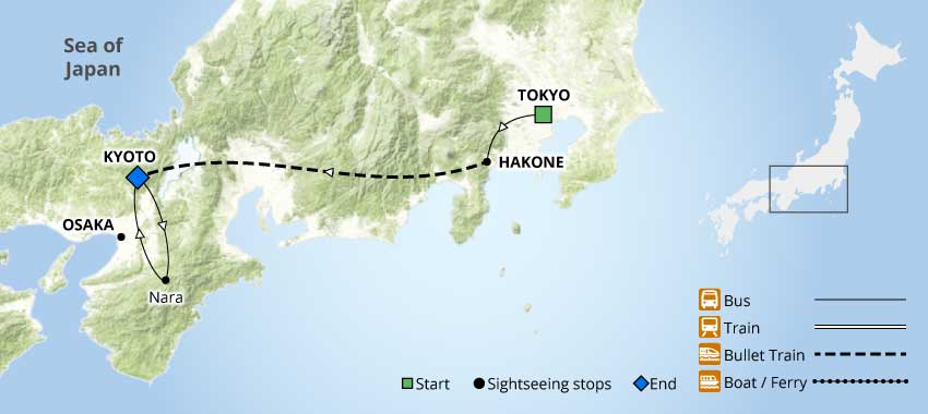 Highlights of Japan Tour Map