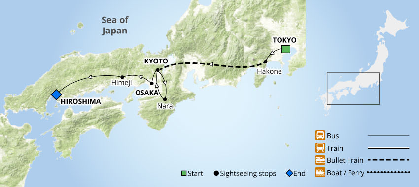 Highlights of Japan | Hiroshima & Niigata Wisteria Tour Map