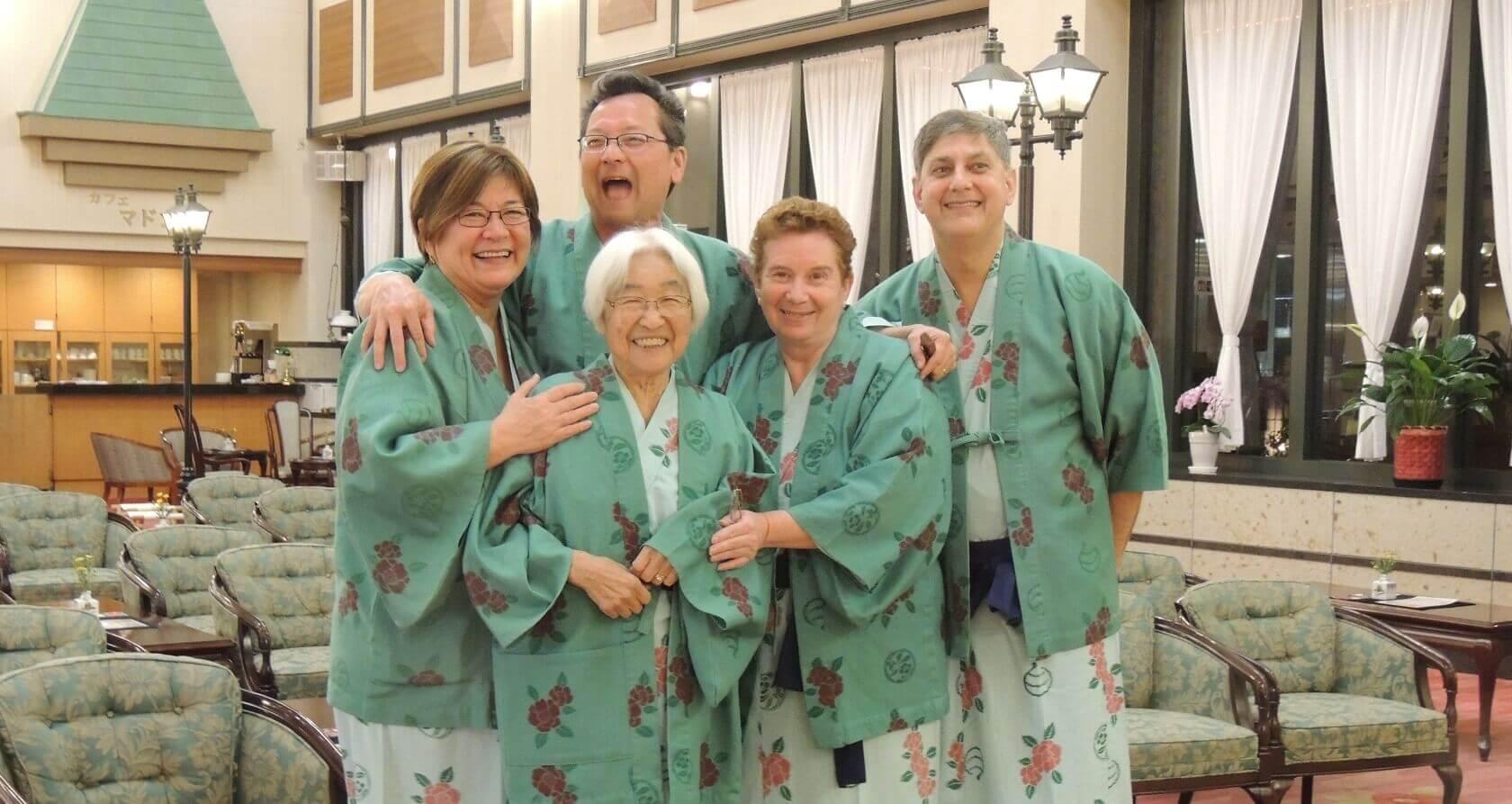 Guests in Yukatas at a Ryokan