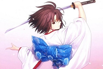 Anime girl with Japanese Sword