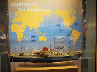 Image of the replica ship display at the Japanese Overseas Migration Museum