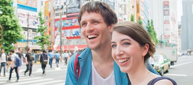 Male and Female Traveler in Japan