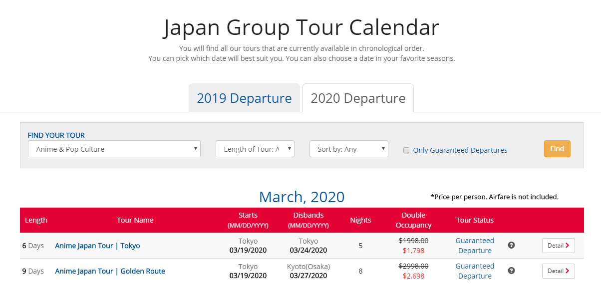 Anime Japan Tours now Available for March 2020 Bookings!