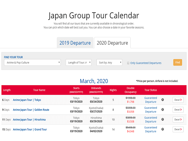 More Tours for 2020 with Big Discounts!