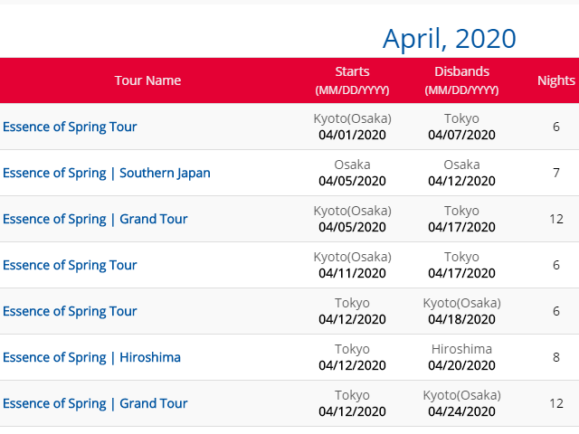 New Spring Tours for 2020