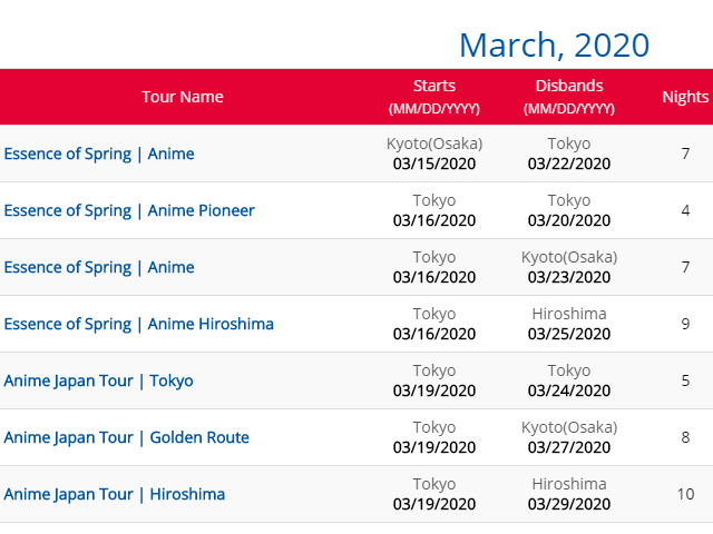 2020 Anime Japan Tours for March & April