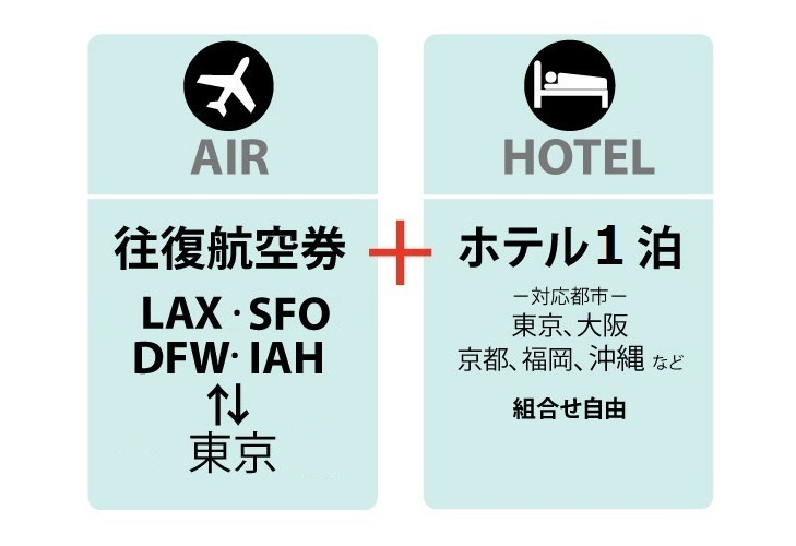 日本航空(JAL) アメリカン航空ホテルパッケージ