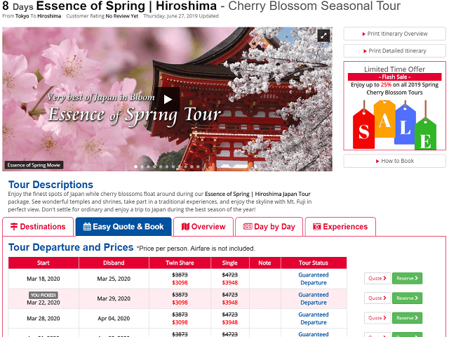8 Day Hiroshima Spring Cherry Blossom Tours Now Added for 2020!