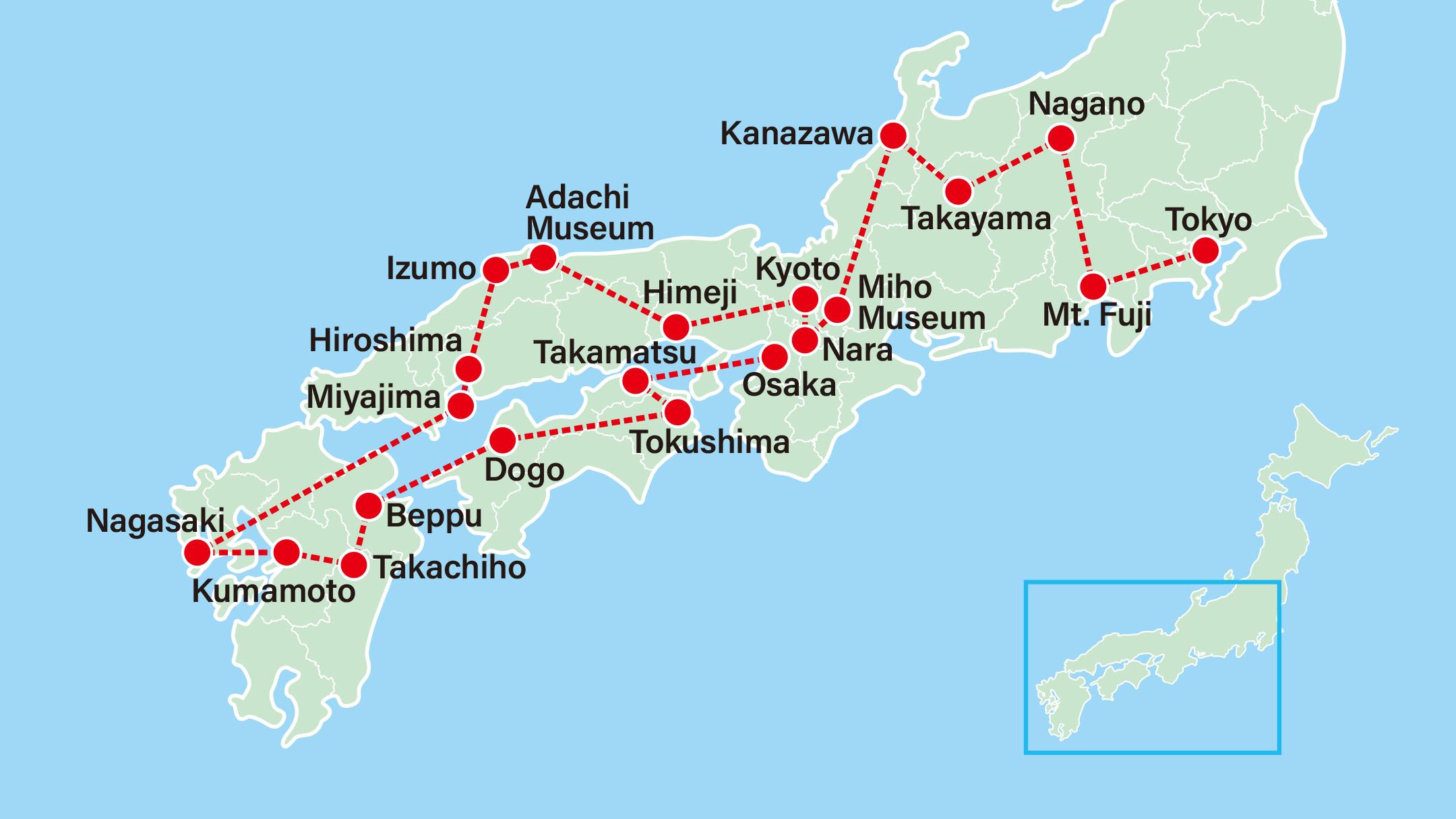 Takayama & Grand Tour of Japan 15 Days-Tokyo-Lake Kawaguchi-Nagano-Takayama-Kanazawa-Miho Museum-Nara-Kyoto-Himeji-Adachi Museum-Hiroshima-Miyajima-Nagasaki-Kumamoto-Takachiho-Beppu-Dogo-Tokushima-Ritsurin Garden-Osaka