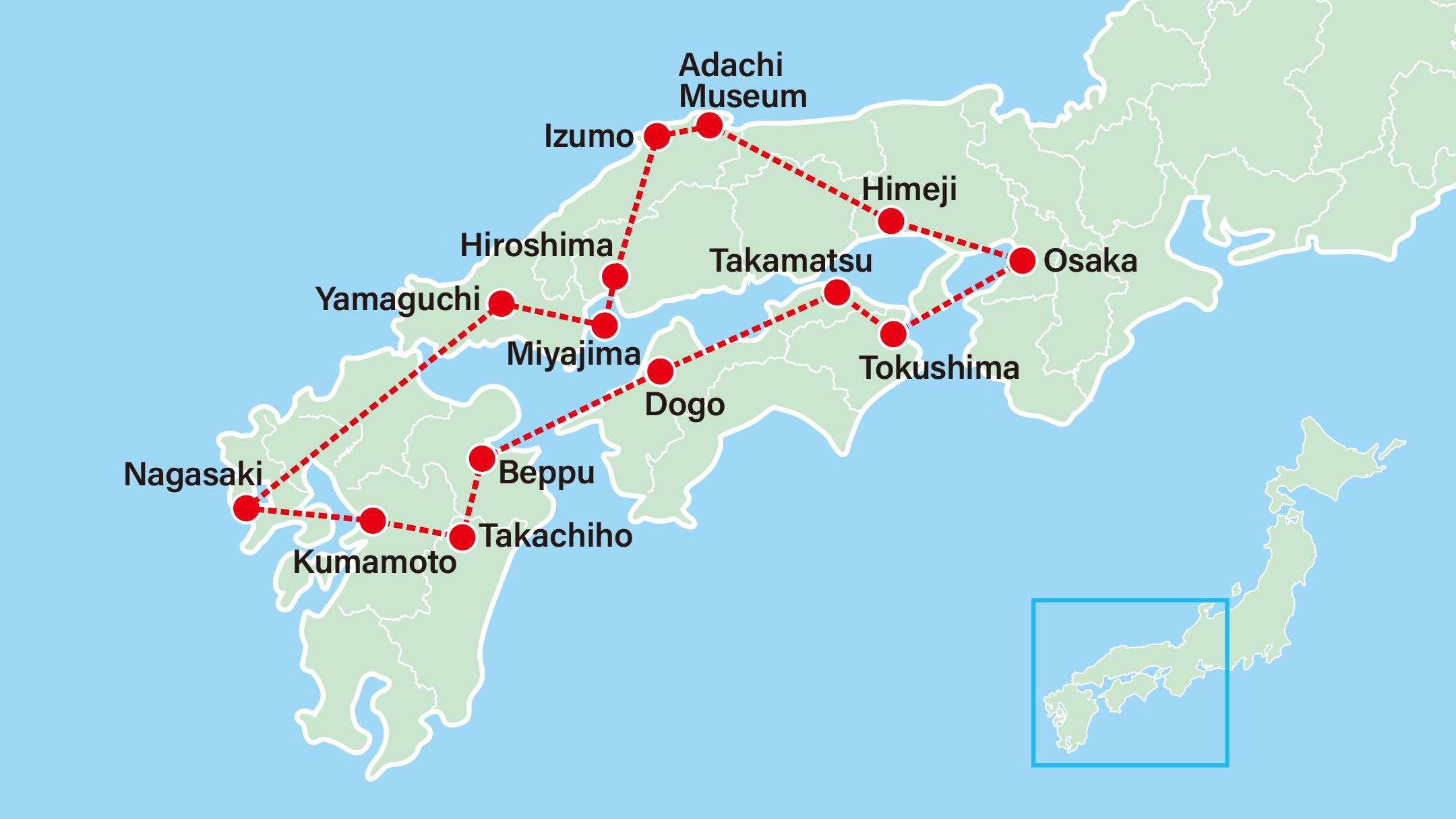 Southern Japan 8 Days-Himeji-Adachi Museum-Hiroshima-Miyajima-Kintai Bridge-Nagasaki-Kumamoto-Takachiho-Beppu-Dogo-Ritsurin Garden-Tokushima-Osaka
