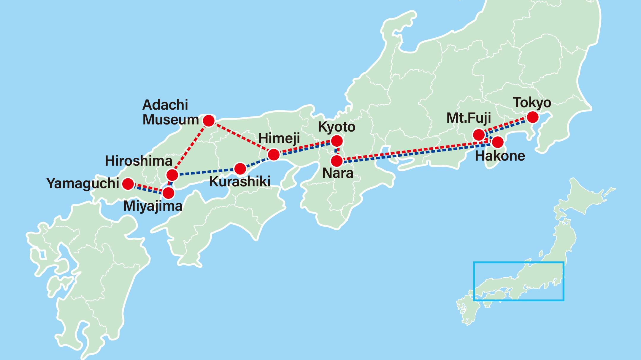 Japanese Ancestry Tour<br>Yamaguchi Suo Oshima-Tokyo-Mt Fuji-Hakone-Nara-Kyoto-Himeji-Adachi Museum-Hiroshima-Miyajima-Suo Island