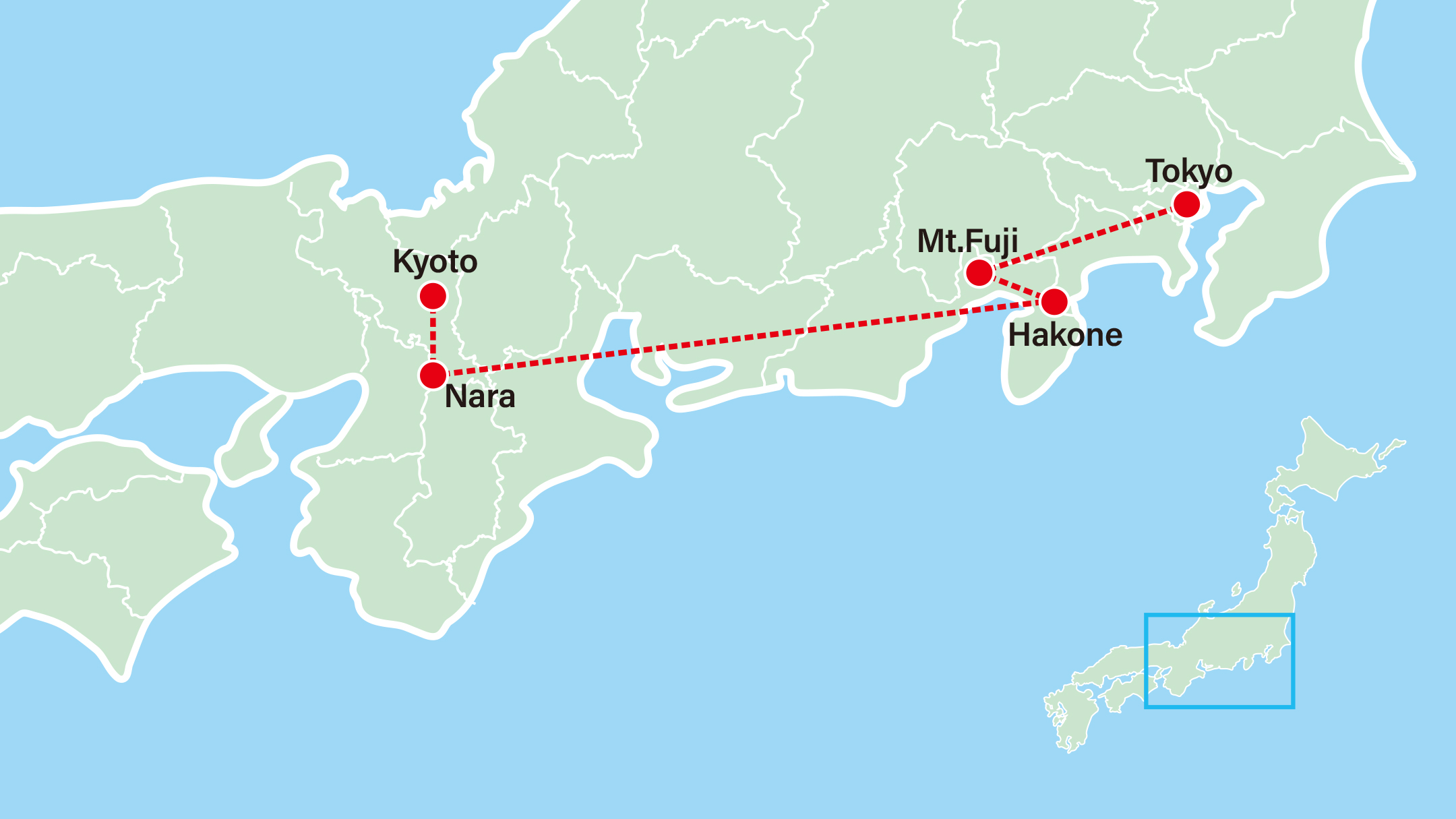 Golden Route of Japan Tour Map