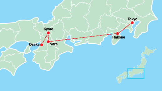 Japan Private Tour with Anime 9 Days Map