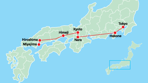 Luxury Private Japan Tour 10 Days Map