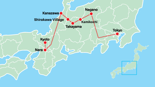 Japan Private Tour Takayama 10 Days Map